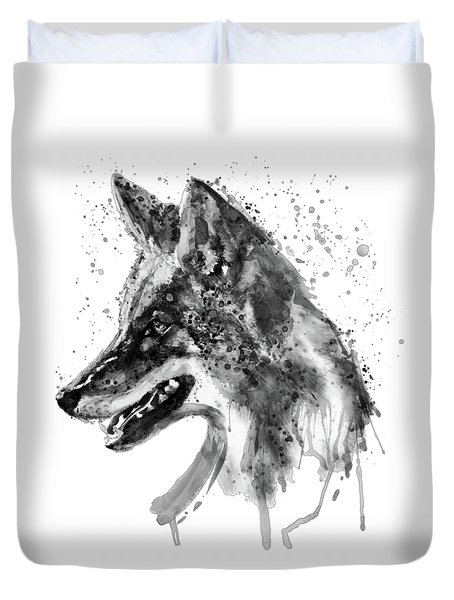 Duvet Cover featuring the mixed media Coyote Head Black And White by Marian Voicu