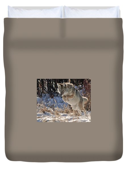 Coyote In Mid Jump Duvet Cover