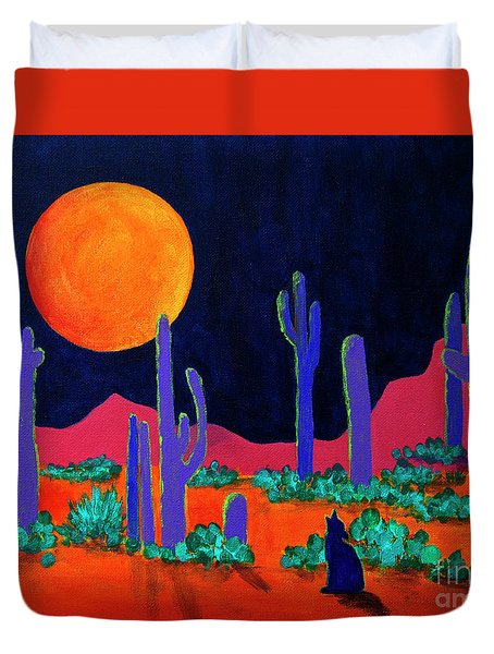 Duvet Cover featuring the painting Coyote Moon by Jeanette French