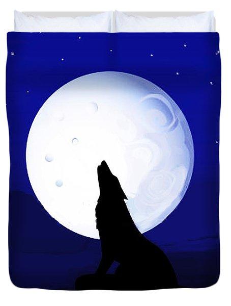 Duvet Cover featuring the digital art Coyote Moon - Tucson, Arizona by Vagabond Folk Art - Virginia Vivier