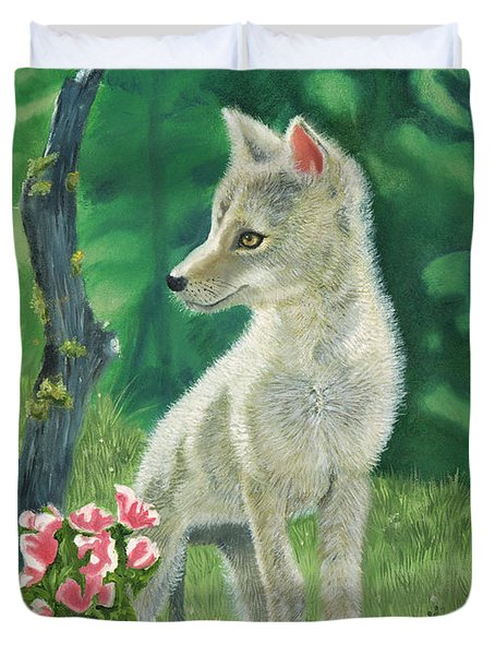 Coyote Pup Duvet Cover by Terry Lewey