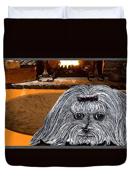 Duvet Cover featuring the drawing Cozy Maltese by Michelle Audas