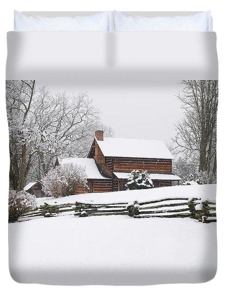 Cozy Snow Cabin Duvet Cover by J K York