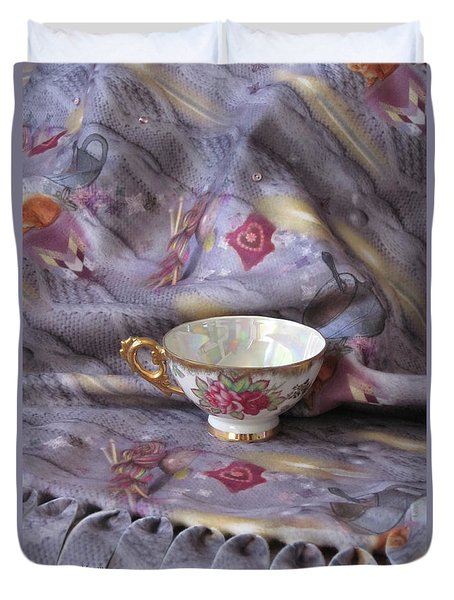 Duvet Cover featuring the photograph Cozy Time With Tea And Fleece Blanket by Nancy Lee Moran
