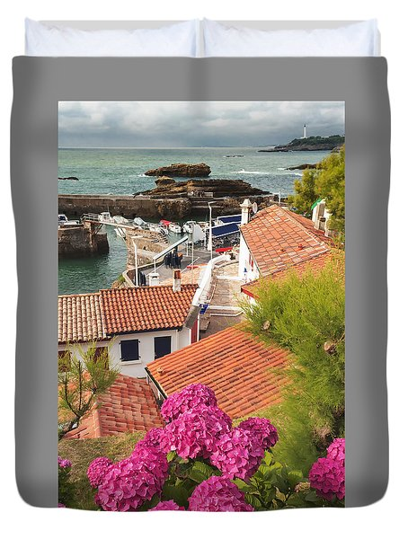cozy tourist town on the Bay of Biscay Duvet Cover