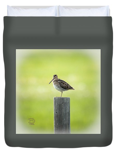 Duvet Cover featuring the photograph Common Snipe by Daniel Hebard