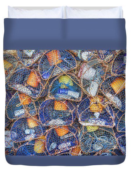 Crab And Lobster Pots On Quayside Duvet Cover