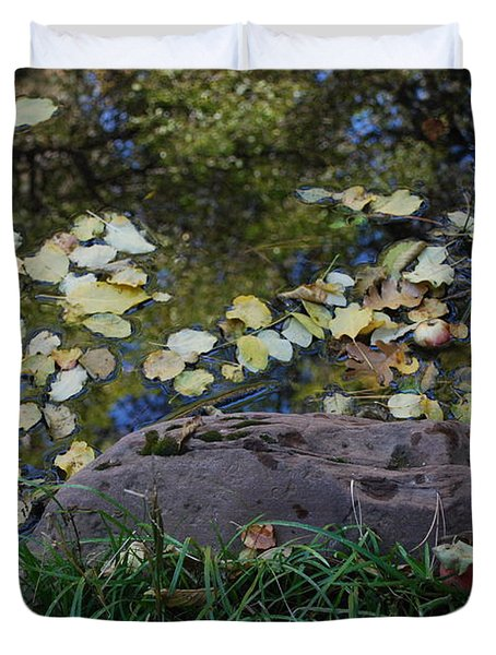 Crab Apple and Leaves Duvet Cover by Heather Kirk