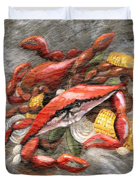 Crab Boil Duvet Cover by Elaine Hodges