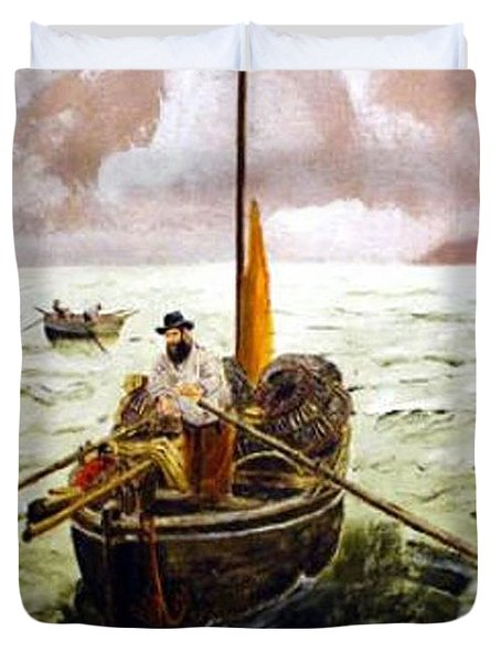 Duvet Cover featuring the painting Crab Fisherman by Richard Le Page