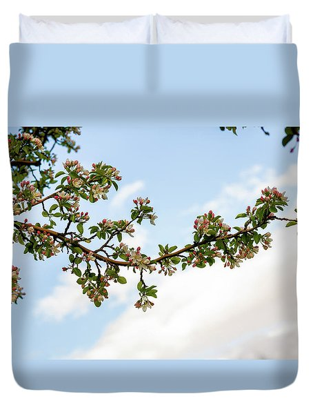 Duvet Cover featuring the photograph Crabapple Blossoms  by TL Mair