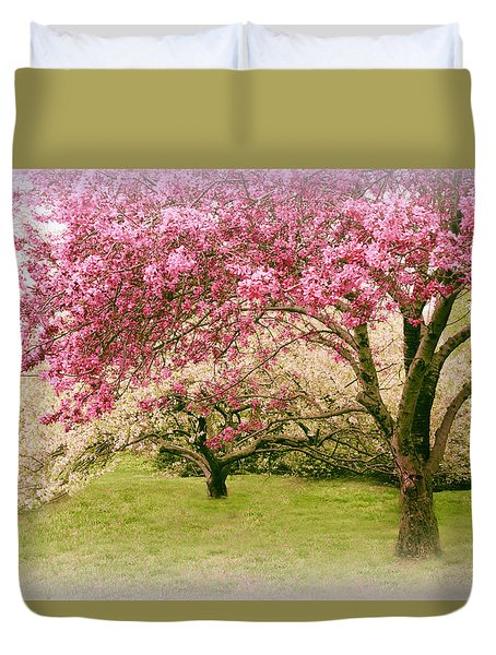 Duvet Cover featuring the photograph Crabapple Confection by Jessica Jenney