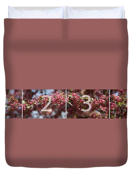 Crabapple In Spring Panoramic Map Duvet Cover