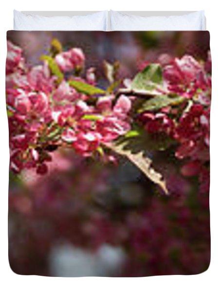 Crabapple In Spring Panoramic Duvet Cover