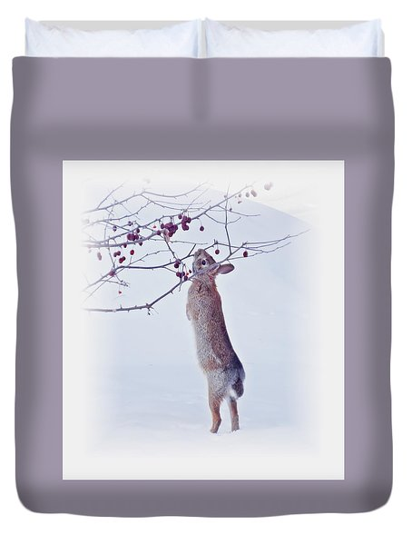 Crabapple Snow Bunny Cropped - Rabbit With Vignette Duvet Cover by MTBobbins Photography