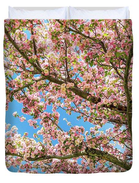 Crabapple Tree Pink Spring Blossoms Duvet Cover