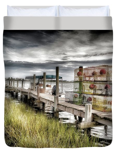 Crabber's Dock, Surf City, North Carolina Duvet Cover