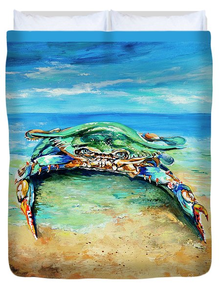 Crabby At The Beach Duvet Cover by Dianne Parks