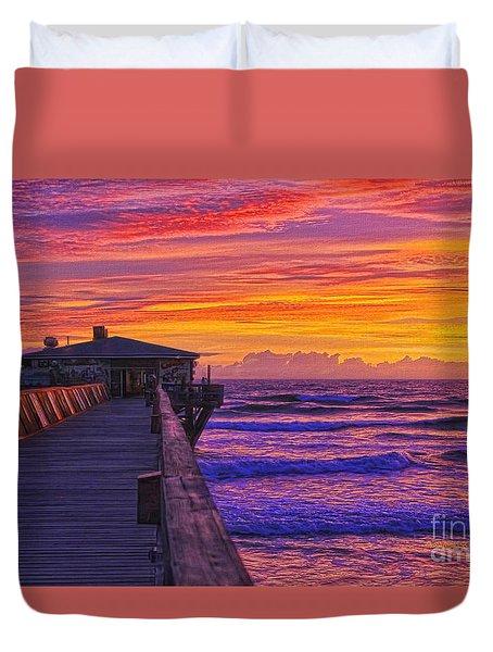 Crabby Joe's Sunday Sunrise Duvet Cover by Deborah Benoit
