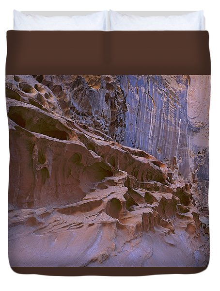 Crack Canyon Blue Wall Duvet Cover