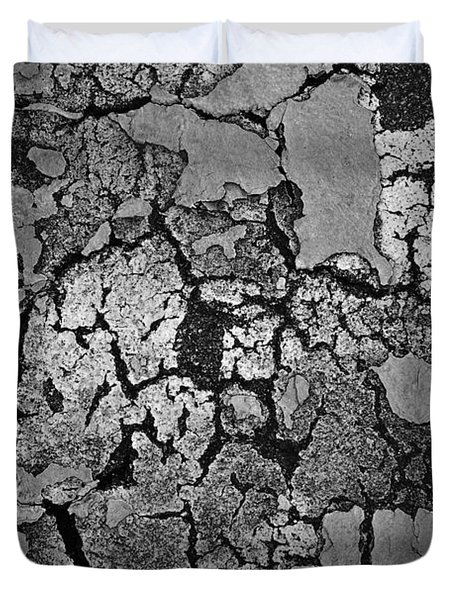 Cracked Paint Abstract Bw Duvet Cover