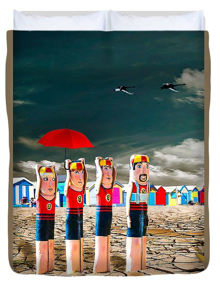 Duvet Cover featuring the photograph Cracked V - The Life Guards by Chris Armytage