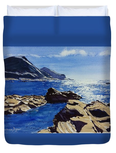 Duvet Cover featuring the painting Crackington Haven Sparkle by Lawrence Dyer