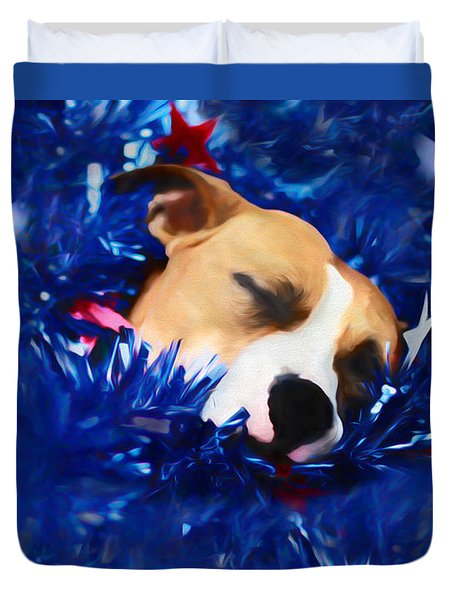 Duvet Cover featuring the photograph Cradled By A Blanket Of Stars And Stripes by Shelley Neff