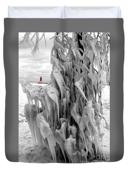 Duvet Cover featuring the photograph Cradled In Ice - Menominee North Pier Lighthouse by Mark J Seefeldt