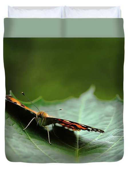 Duvet Cover featuring the photograph Cradled Painted Lady by Debbie Oppermann