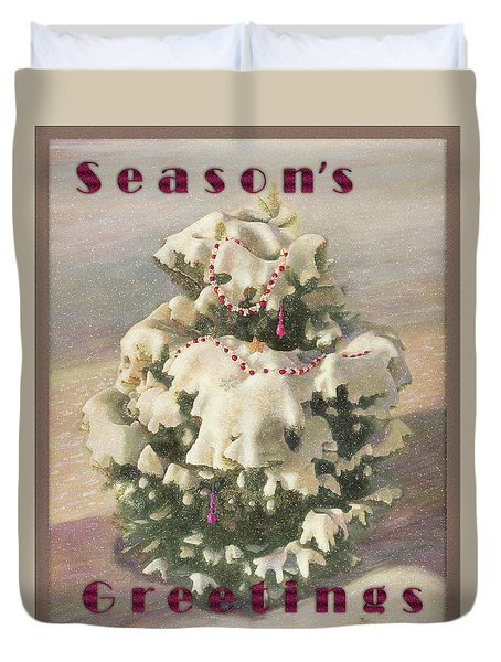 Duvet Cover featuring the painting Cranberry Garlands Christmas Blue Spruce by Nancy Lee Moran