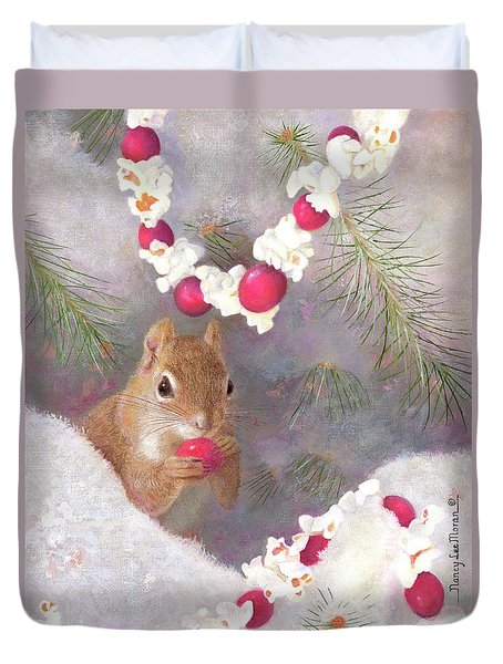 Duvet Cover featuring the painting Cranberry Garlands Christmas Squirrel by Nancy Lee Moran
