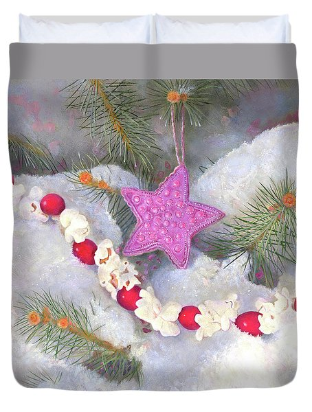 Duvet Cover featuring the painting Cranberry Garlands Christmas Star In Orchid by Nancy Lee Moran