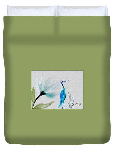 Crane And Flower Abstract Duvet Cover