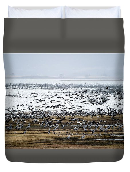 Duvet Cover featuring the photograph Crane Dance by Torbjorn Swenelius