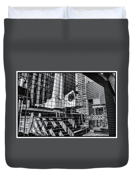 Crane In Manhattan Duvet Cover