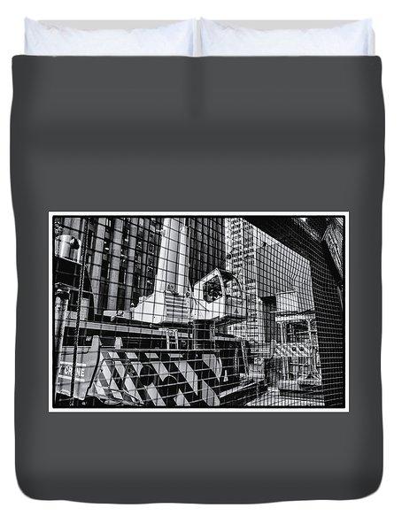 Crane In Manhattan Duvet Cover