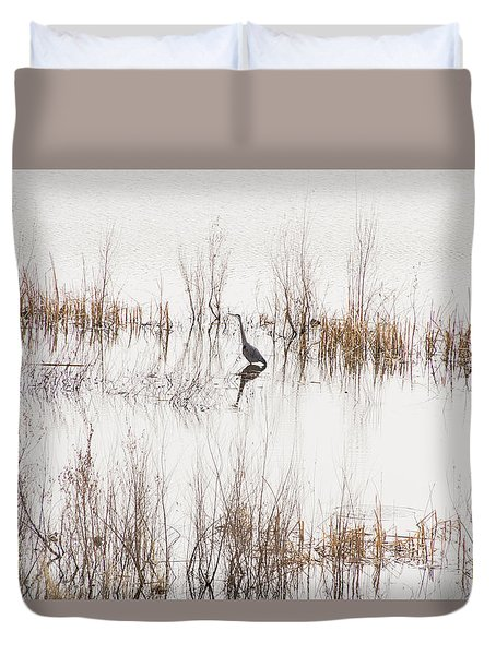 Duvet Cover featuring the photograph Crane In Reeds by Laura Pratt