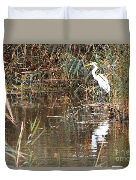 Crane Reflection Duvet Cover