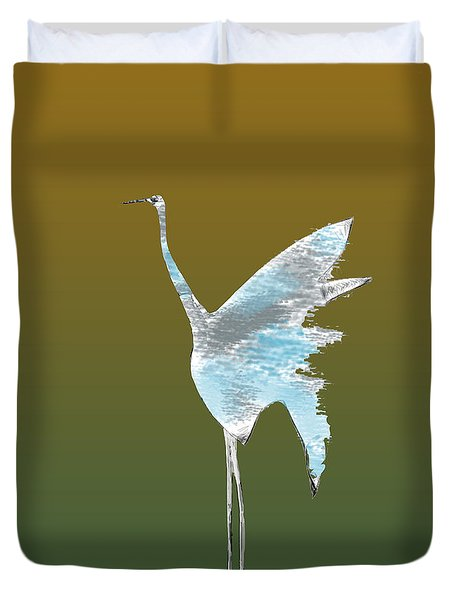 Crane Sketch Duvet Cover by Asok Mukhopadhyay