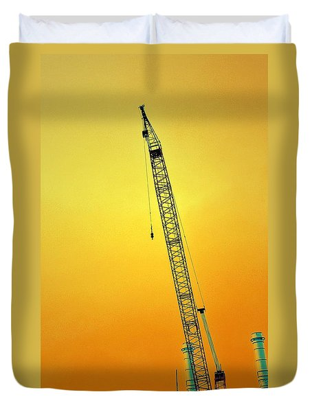 Crane With Towers Duvet Cover