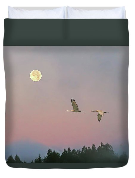 Duvet Cover featuring the photograph Cranes And A Full Moon At Dawn by Peggy Collins