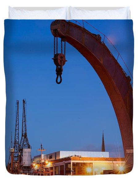 Cranes, Bristol Harbour Duvet Cover