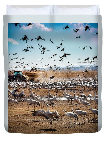 Cranes Feeding Duvet Cover