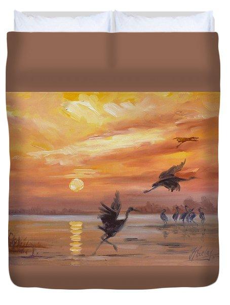 Cranes - Golden Sunset Duvet Cover