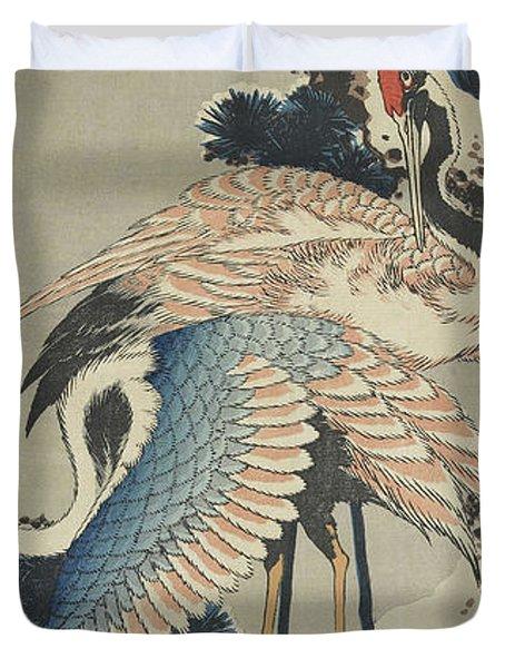 Cranes On Pine Duvet Cover