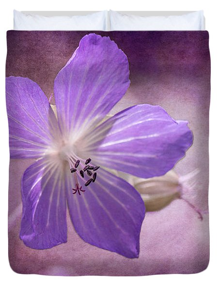 Duvet Cover featuring the photograph Cranesbill by Clare Bambers
