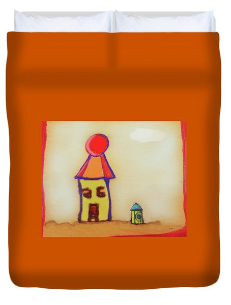 Cranky Clown Cabana And Fire Hydrant Duvet Cover