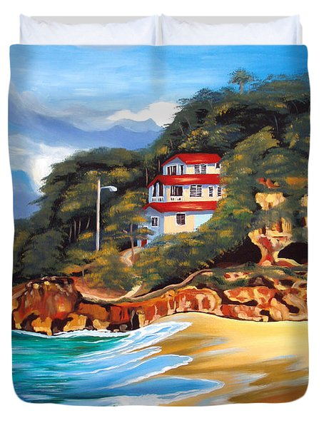 Crash Boat Beach Duvet Cover by Milagros Palmieri