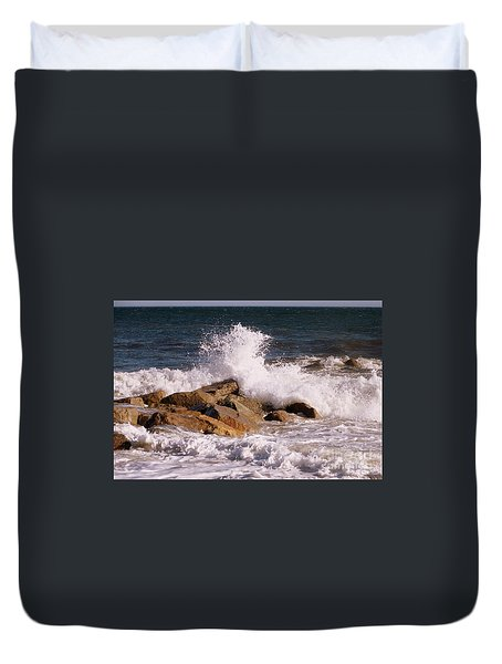 Duvet Cover featuring the photograph Crashing Surf On Plum Island by Eunice Miller